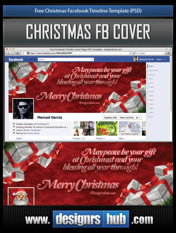Free Christmas Facebook Timeline Template (PSD)
