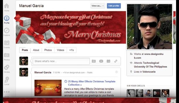 Free Christmas Google+ Cover Template (PSD)