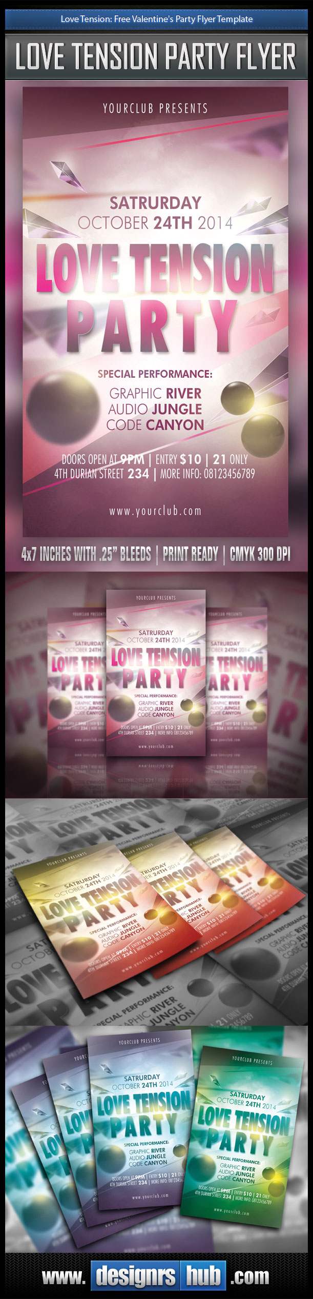 Love Tension: Free Valentine's Party Flyer Template
