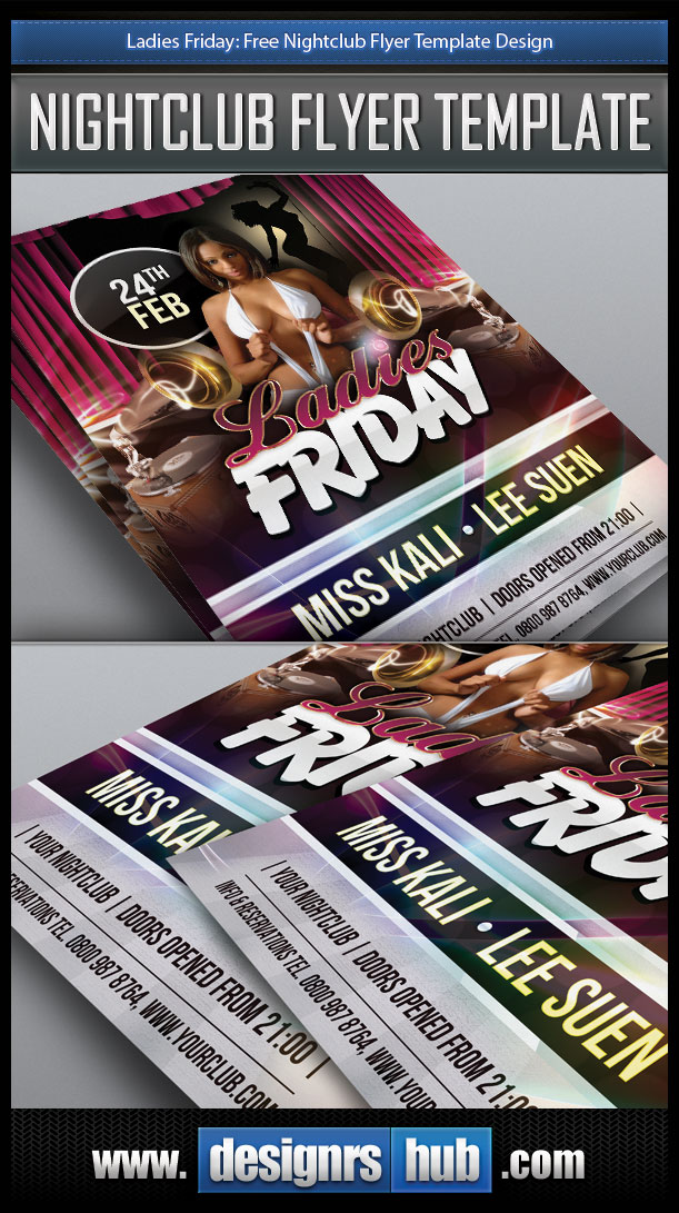 Ladies friday free nightclub flyer template design for Free club flyer templates