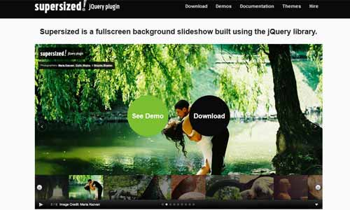 Supersized – Full Screen Background Slideshow jQuery Plugin
