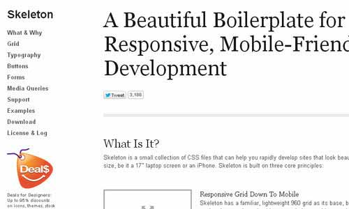 Skeleton: Beautiful Boilerplate for Responsive Development