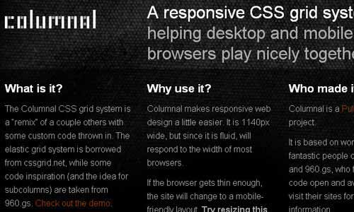 Columnal - A Responsive CSS Grid System