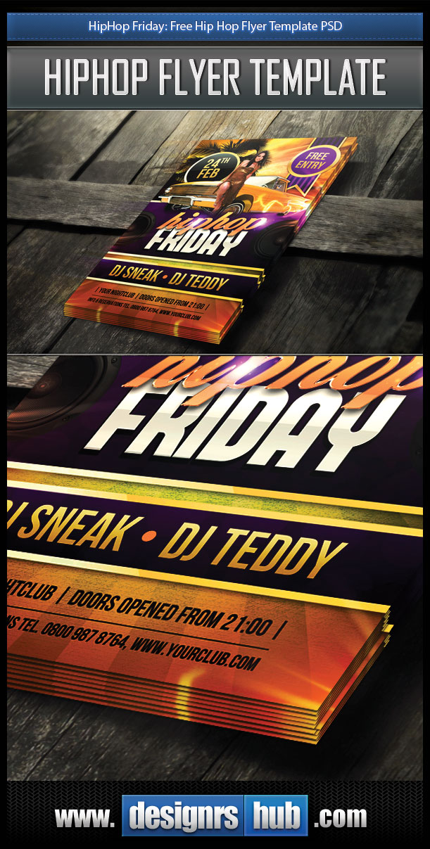 hiphop friday  free hip hop flyer template psd