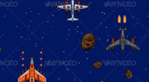 8-Bit Sky Fighter Game Scene/Sprite Sheets