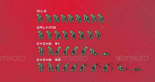 Zombie Game Sprite Sheets