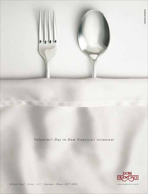 Restaurant Ad: Spoon & Fork for Valentines Day