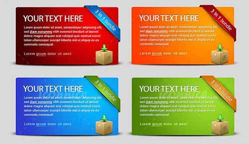 Four Colour Web Banners PSD