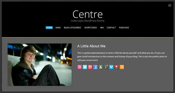 Centre Responsive Metro WordPress Themes