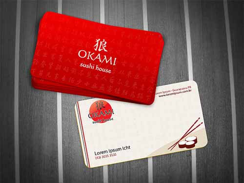 Okami Sushi House Business Card