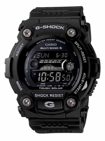 Solar Atomic Black Digital Sport Watch