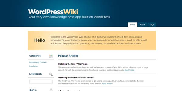 WordPress App Themes: WordPress Wiki Theme