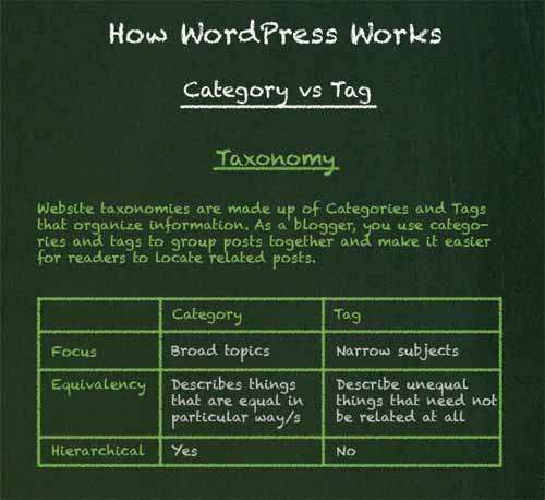 How WordPress Works: Category Vs. Tag [Infographic]