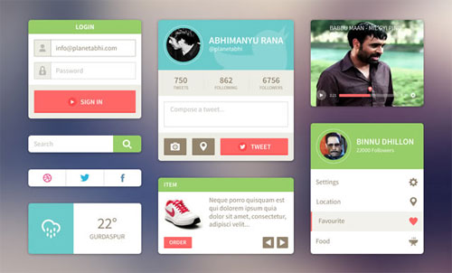 20 free flat user interface templates and designs for User interface design document template