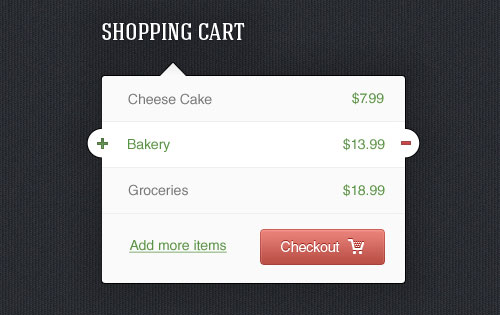 Shopping Cart Widget PSD Template