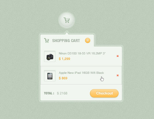 Shopping Cart Dropdown (PSD)
