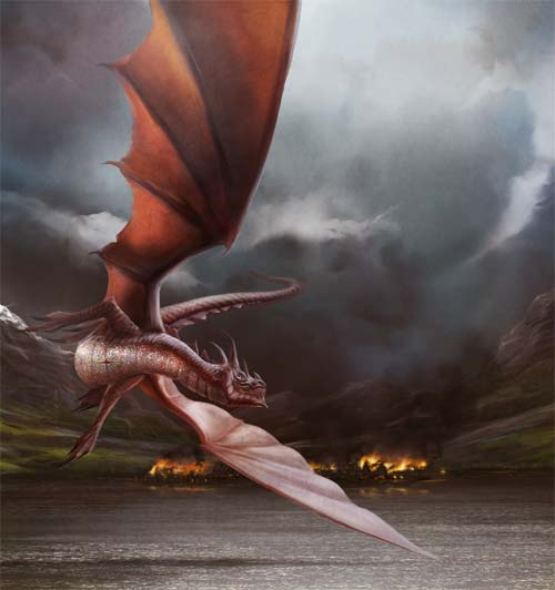 Smaug Burns Laketown
