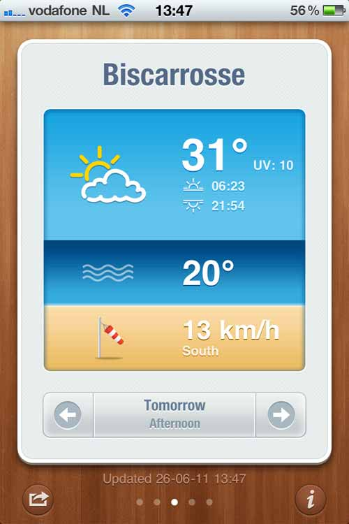Beach Weather App for iPhone
