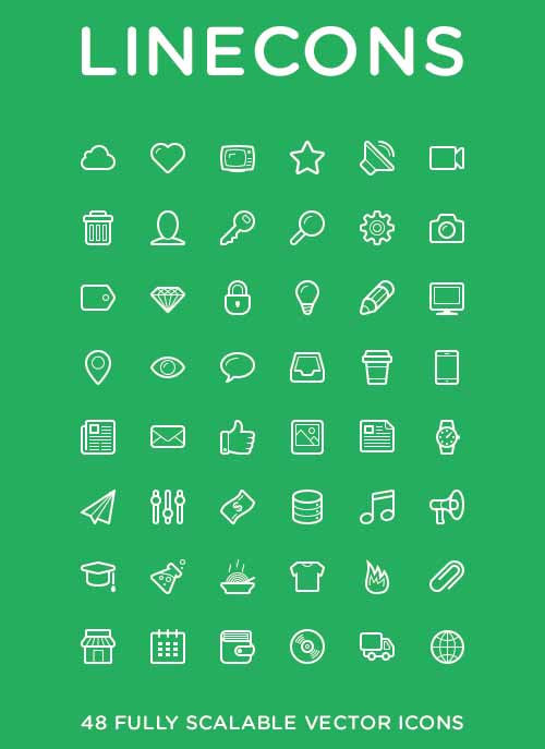 Linecons Icon Set (AI, PDF, PNG, PSD, SVG)
