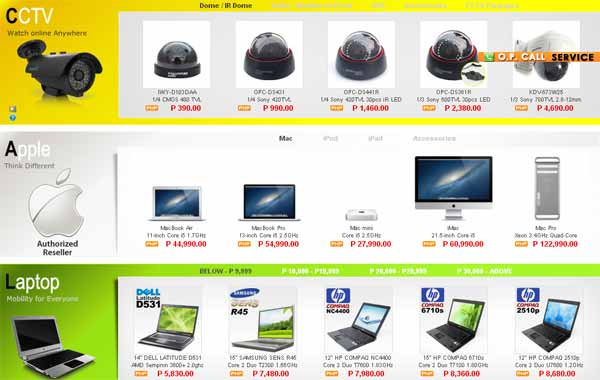 Online Computer Store – Product Navigation