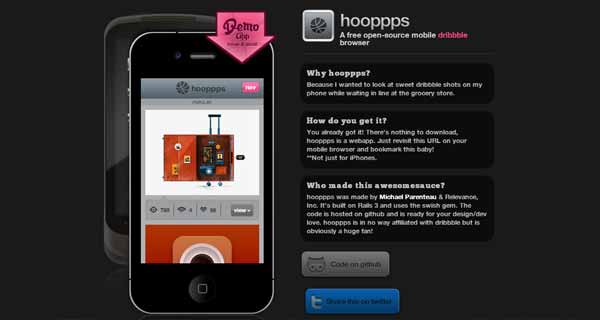 Hooppps - A Mobile Dribbble Browser