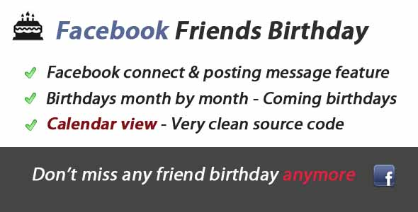 Facebook Friends Birthday Awesome App