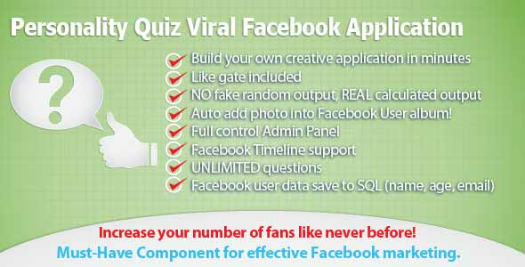 Personality Quiz Viral Facebook Application