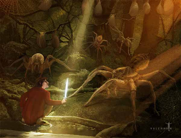 Bilbo and the Mirkwood Spiders