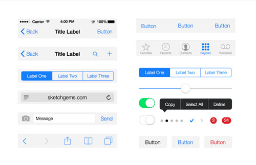 iOS 7 UI Kit Lite for Sketch