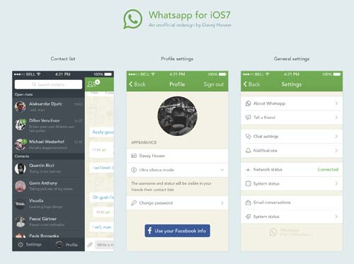 Whatsapp for iOS 7 Redesign