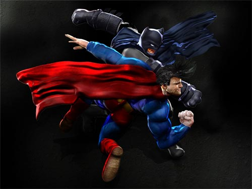 The Battle between Batman and Superman