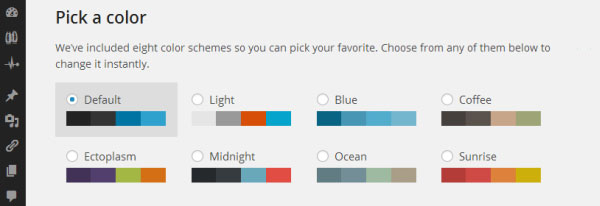 Eight Color Schemes for your WordPress Admin Dashboard
