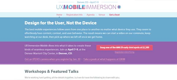 UX Immersion Mobile Conference - Design for the User, Not the Device