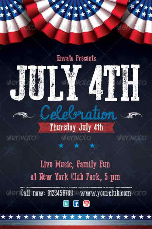 Celebrating Independence Day  Fourth Of July Flyer Templates