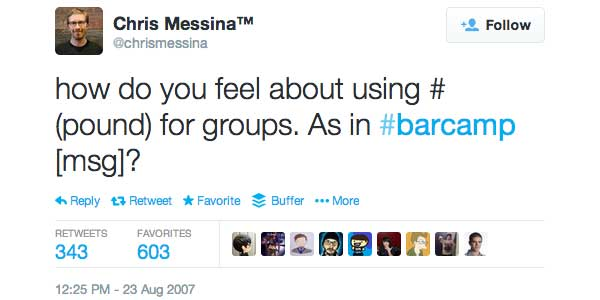 Chris Messina First Twitter Hashtag