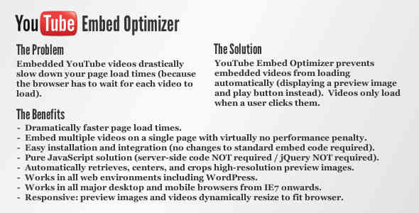 YouTube Embed Optimizer