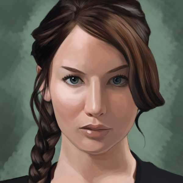Painting of Jennifer Lawrence as Katniss Everdeen