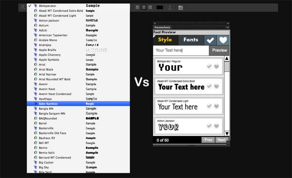 Preview Fonts Extension for Photoshop CS6