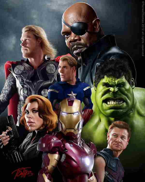 "Digital Caricature of the ""The Avengers"""