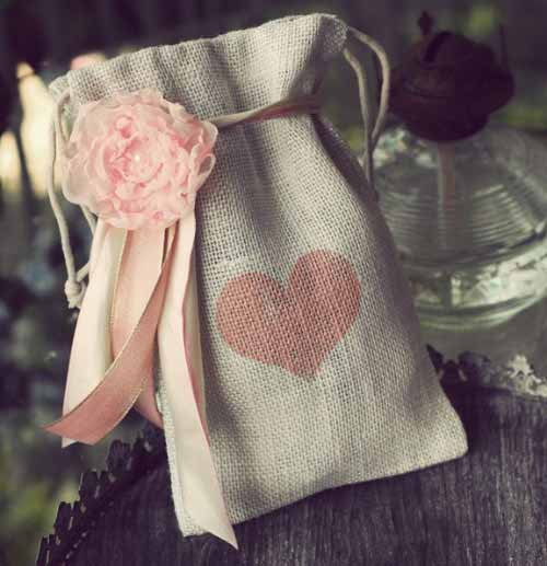 Ivory Burlap Heart Gift Bag