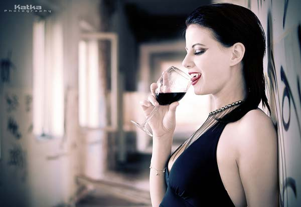 Beautiful Vampire Drinking Blood