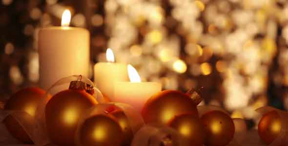 Christmas Candles and Balls Changing Light