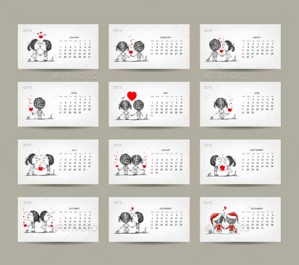 Couple in Love 2015 Calendar