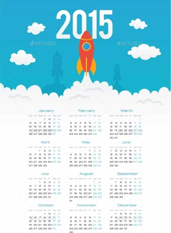 Startup Rocket in Flat Style 2015 Calendar Template