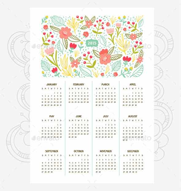 Floral Calendar for Year 2015
