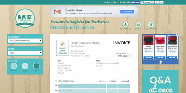 Invoice at Once - Free Invoice Templates for Freelancers