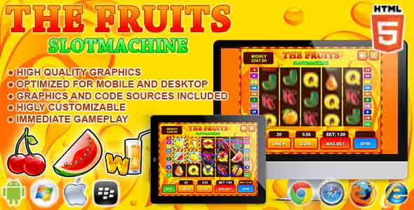 Slot Machine The Fruits - Casino HTML5 Game
