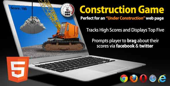 Under Construction HTML5 Game with Social Sharing
