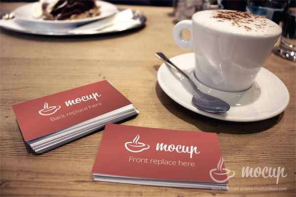 Business Card Mockup with Coffee Cup