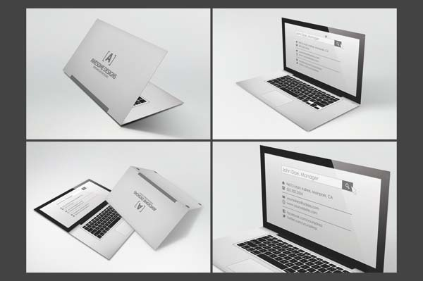 Laptop Folded Business Card